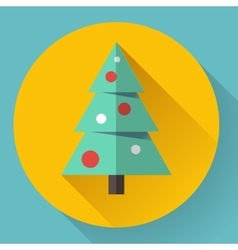 Color icon of christmas tree Flat designed style vector image