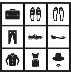 Concept flat icons in black and white clothes vector image