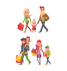 Couple children bags full of presents christmas vector