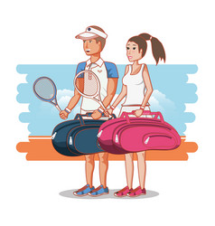 couple of players tennis characters vector image