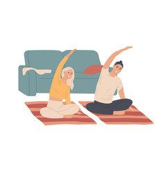 couple young people do exercises at home vector image