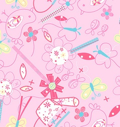Cute birds and flowers seamless pattern vector image
