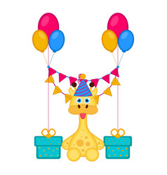 cute giraffe with a party hat and presents vector image