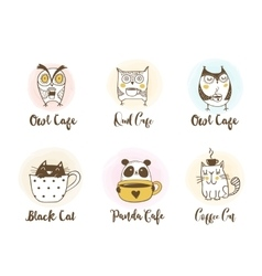 Cute owls cat and panda drinking coffee vector