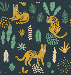 Cute seamless pattern with leopards exotic leaves vector