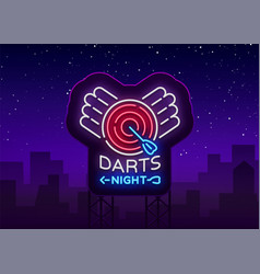 Darts neon sign bright vector