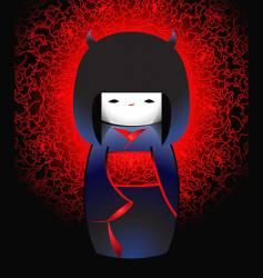 Demonic japanese doll vector
