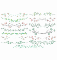 Dividers with branches plants and flowers vector