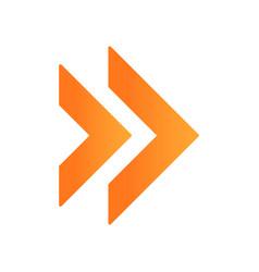 Double orange arrow flat design long shadow color vector