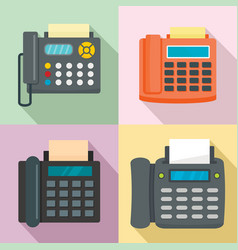 Fax machine telephone icons set flat style vector