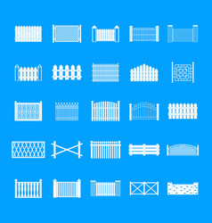fence icons set simple style vector image