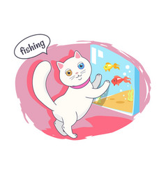 fishing kitten color poster vector image