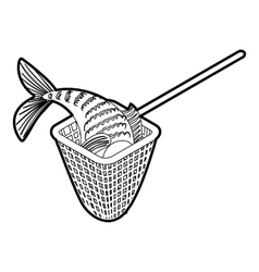 Fishing net icon outline style vector image
