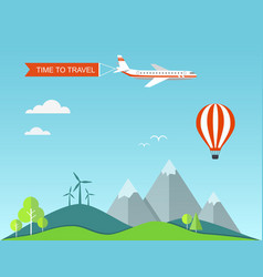 flat banner travel with landscape vector image