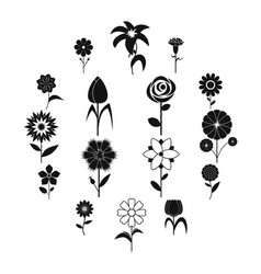 flower icons set black simple style vector image