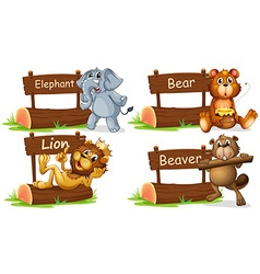 Four wild animals with wooden sign vector
