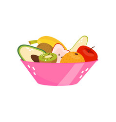 fresh ripe fruits in pink glass vase healthy vector image