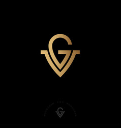 G and v letters monogram gold vector
