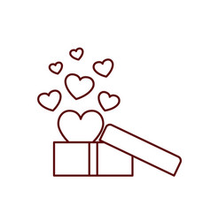 gift box with hearts isolated icon vector image