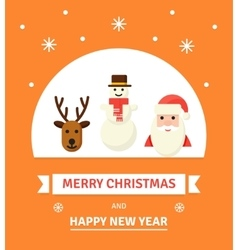 Greeting Christmas Card New Year characters vector image