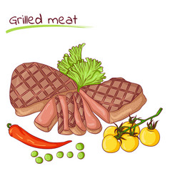 Grilled meat and vegetables vector