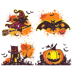 halloween icons set design elements vector image