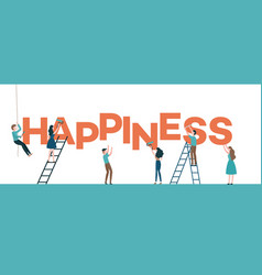 Happiness text design with men vector