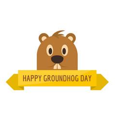 Happy groundhog day icon flat style vector