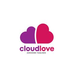 heart logo concept cloud heart logo vector image