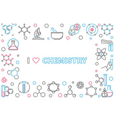 i love chemistry outline horizontal frame with vector image