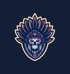 indian skull mascot logo vector image