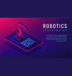 Isometric robotics programming landing page vector