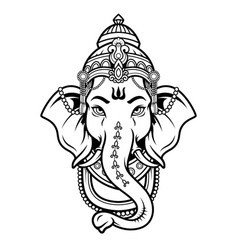 Lord ganeshhead black and white icon in linear vector