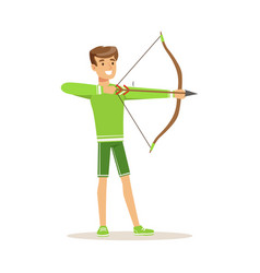 Male archer character standing with bow and aiming vector