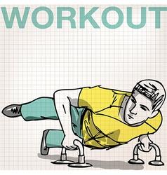 Man doing push-ups bars vector image