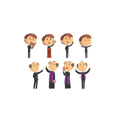 man priests characters collection young and vector image