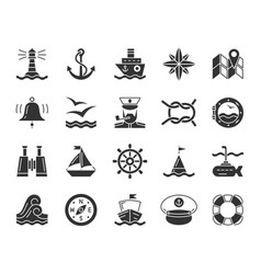 Marine black glyph icons nautical set vector