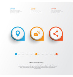 Media icons set collection of inbox pin publish vector