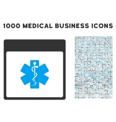 Medical life star calendar page icon with 1000 vector