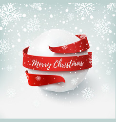 merry christmas snow ball with red bow and ribbon vector image