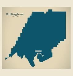 Modern map - dillingham alaska county usa vector