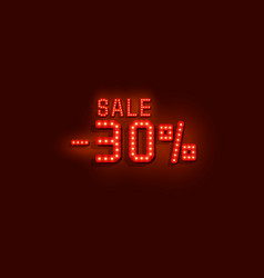 neon 30 sale text banner night sign vector image