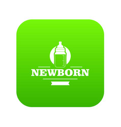 newborn bottle icon green vector image