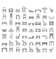 Outdoor garden furniture icons set outline style vector