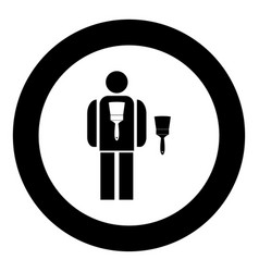 painting master icon black color in circle vector image