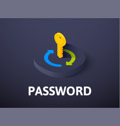 password isometric icon isolated on color vector image