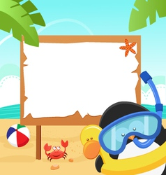penguin snorkel message vector image