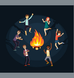 people having fun and dancing near fire vector image