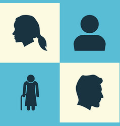 people icons set collection of gentlewoman head vector image