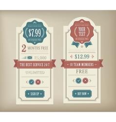 price table vector image vector image